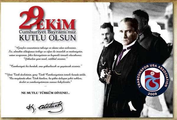 Trabzonspor USA Cumhuriyet Bayramı Mesajı